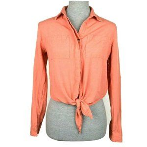 Style Envy Coral Cropped Roll Tab Tie Front Blouse
